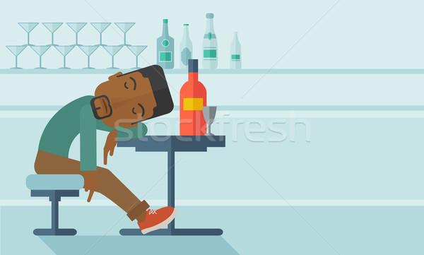 Stockfoto: Afrikaanse · dronken · man · vallen · pub