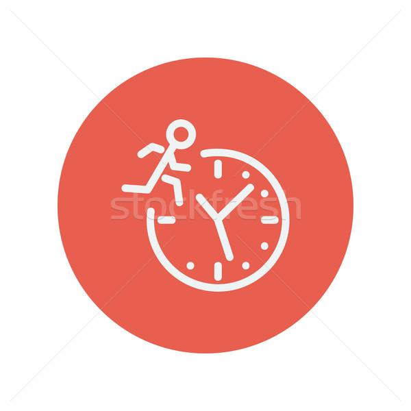 Férfi fut idő vékony vonal ikon Stock fotó © RAStudio