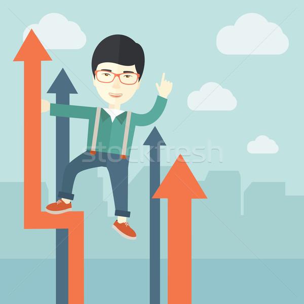 Sikeres kínai üzletember áll felső grafikon Stock fotó © RAStudio