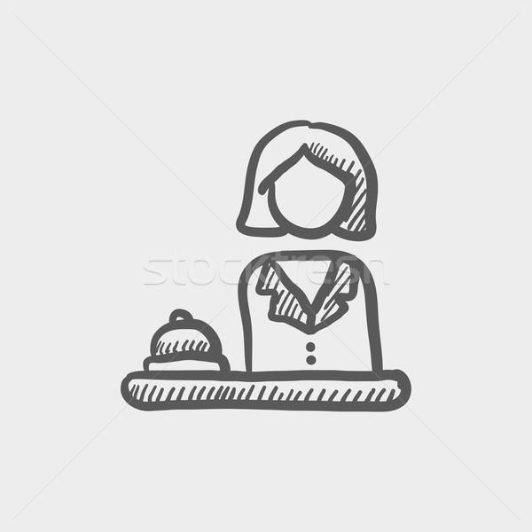 Kobiet recepcjonista szkic ikona internetowych komórkowych Zdjęcia stock © RAStudio