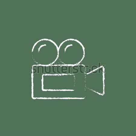 Video camera icon drawn in chalk. Stock photo © RAStudio