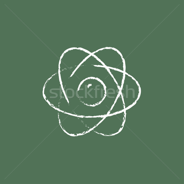 Atom icon drawn in chalk. Stock photo © RAStudio