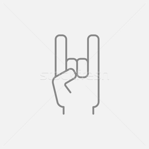 Rock rollen handteken lijn icon web Stockfoto © RAStudio