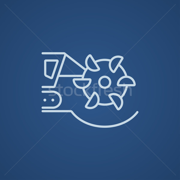 Coal machine with rotating cutting drum line icon. Stock photo © RAStudio
