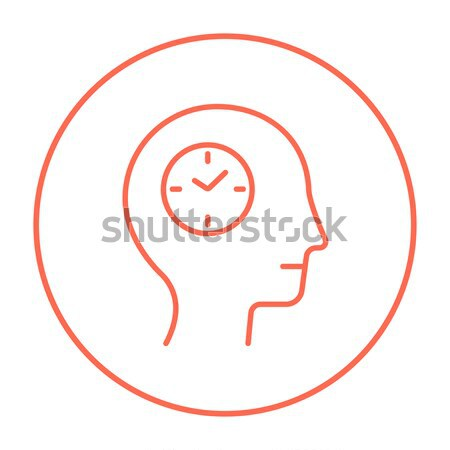 Stock photo: Human head with clock line icon.