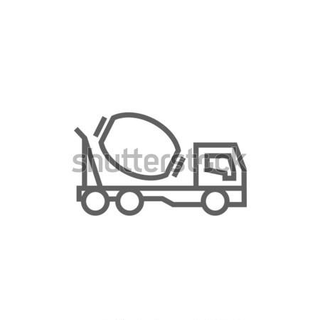 Concreto batedeira caminhão linha ícone teia Foto stock © RAStudio