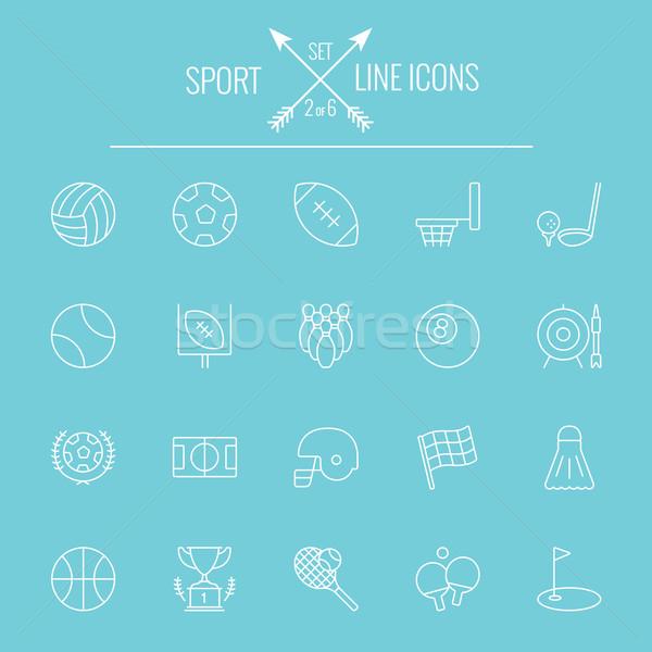 スポーツ ベクトル 白 アイコン 孤立した ストックフォト © RAStudio