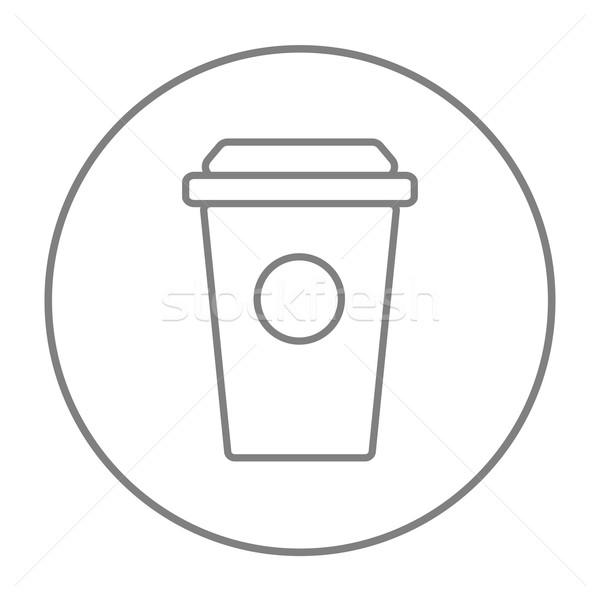 Eldobható csésze vonal ikon háló mobil Stock fotó © RAStudio