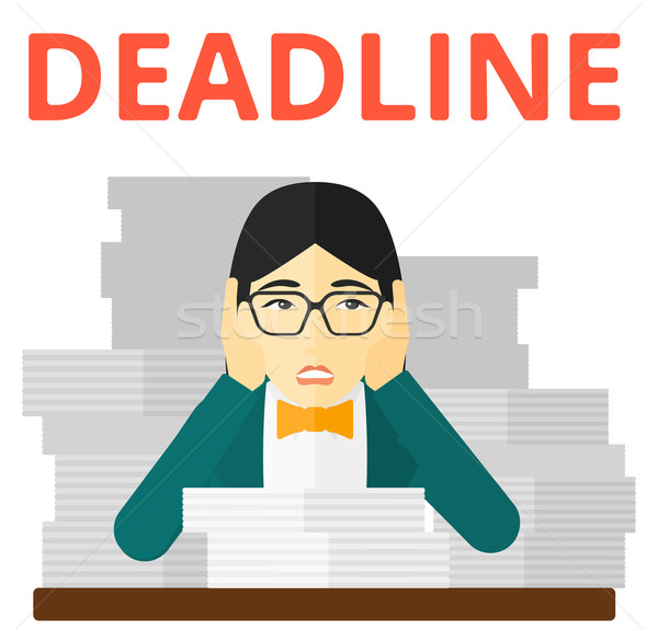 Stock photo: Woman having problem with deadline.