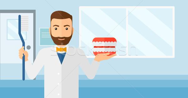 Fogorvos fogászati állkapocs modell fogkefe hipszter Stock fotó © RAStudio