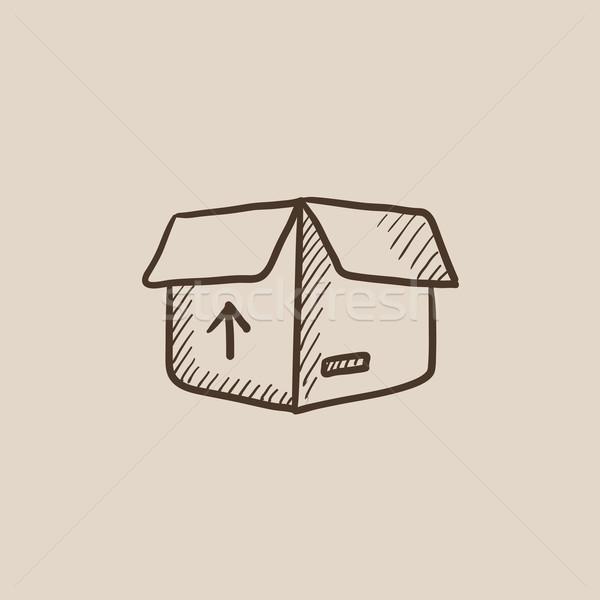 Carton paquet boîte croquis icône ouvrir Photo stock © RAStudio