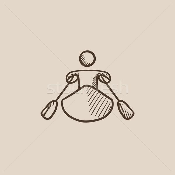 человека эскиз икона веб мобильных Сток-фото © RAStudio