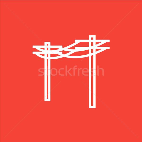 Hoogspanning lijn icon hoeken web Stockfoto © RAStudio