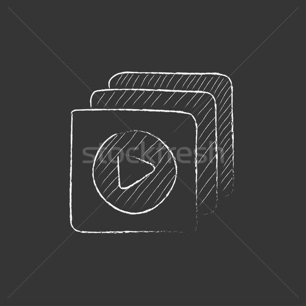 Stockfoto: Media · speler · krijt · icon
