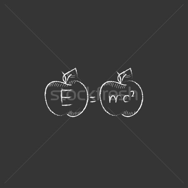 Two apples with formulae. Drawn in chalk icon. Stock photo © RAStudio