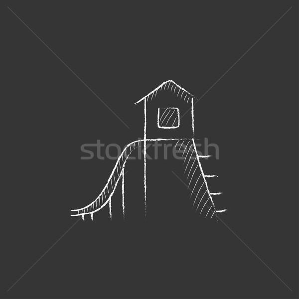 Csúszda rajzolt kréta ikon kézzel rajzolt vektor Stock fotó © RAStudio
