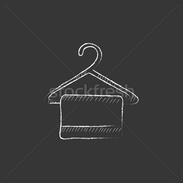Handtuch Kleiderbügel gezeichnet Kreide Symbol Hand gezeichnet Stock foto © RAStudio