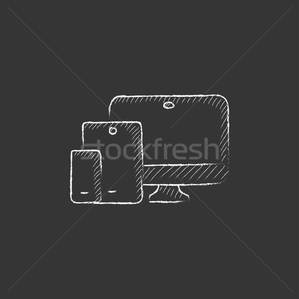 Responsive web design. Drawn in chalk icon. Stock photo © RAStudio