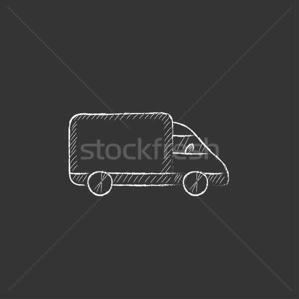 Delivery truck. Drawn in chalk icon. Stock photo © RAStudio