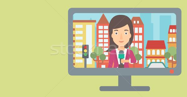 Télévision diffusion entrevue nouvelles journaliste Photo stock © RAStudio