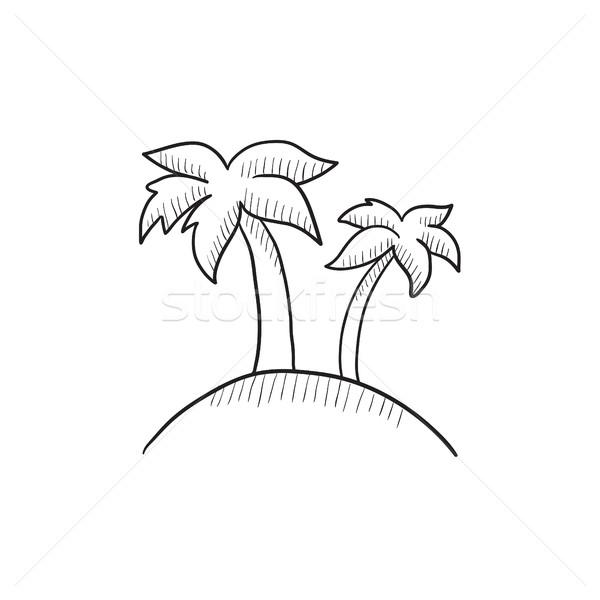 Dois palmeiras ilha esboço ícone vetor Foto stock © RAStudio