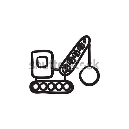 Yıkım vinç kroki ikon vektör yalıtılmış Stok fotoğraf © RAStudio
