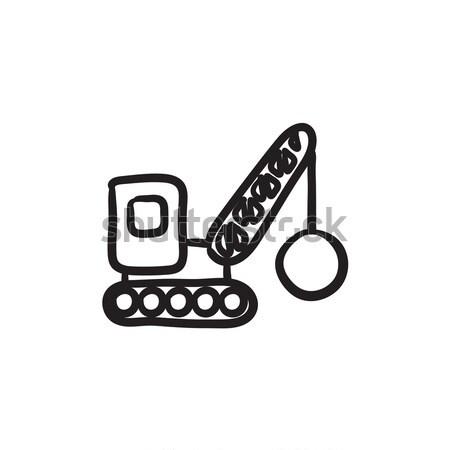 Demolition crane sketch icon. Stock photo © RAStudio