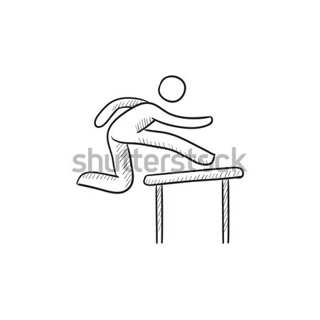 Man running over barrier sketch icon. Stock photo © RAStudio