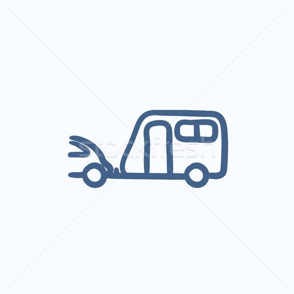 Auto caravan schets icon vector geïsoleerd Stockfoto © RAStudio