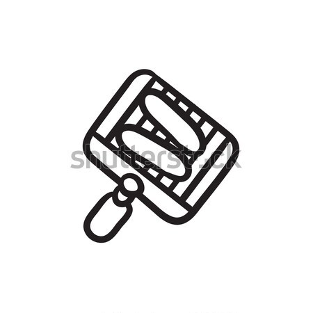 Spatula with brickwall sketch icon. Stock photo © RAStudio