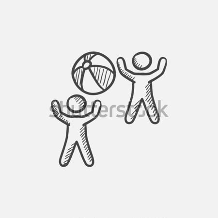 çocuklar oynama şişme top kroki ikon Stok fotoğraf © RAStudio