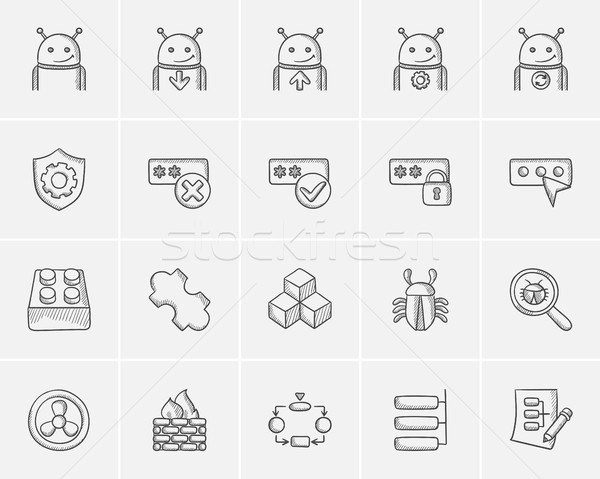 Stock photo: Technology sketch icon set.