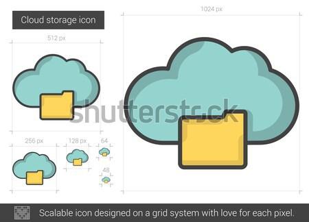 Nube stoccaggio line icona vettore isolato Foto d'archivio © RAStudio