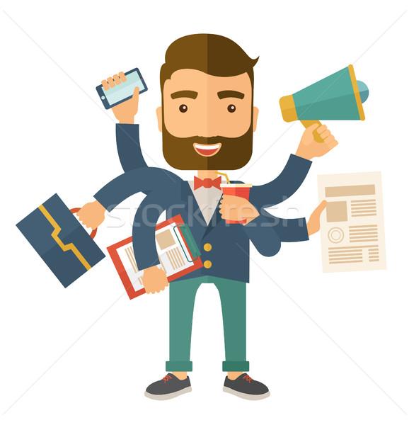 Man doing multitasking Stock photo © RAStudio