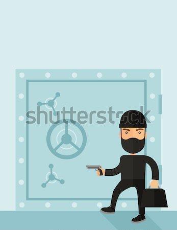 человека черный банка безопасной Сток-фото © RAStudio