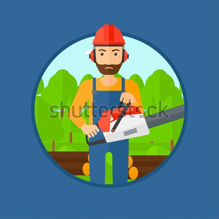 Woodcutter with chainsaw vector illustration. Stock photo © RAStudio