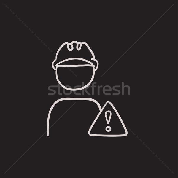 Munkás vigyázat felirat rajz ikon vektor Stock fotó © RAStudio