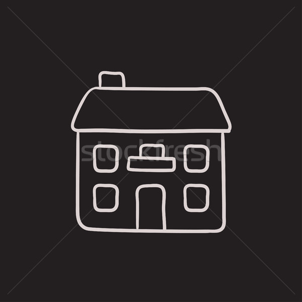 Kettő családi ház rajz ikon vektor izolált Stock fotó © RAStudio