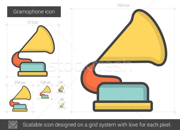 Gramófono línea icono vector aislado blanco Foto stock © RAStudio