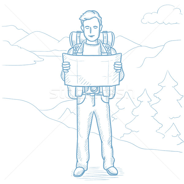 Traveler looking at map vector illustration. Stock photo © RAStudio