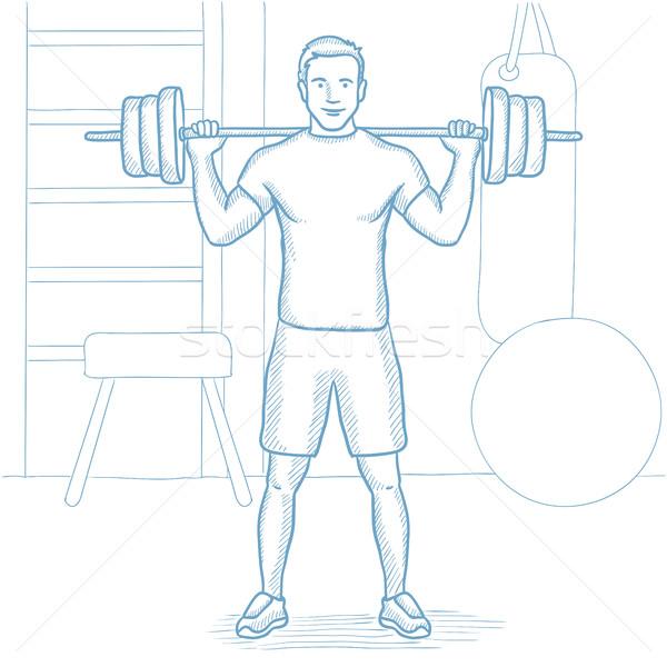 Man lifting barbell in the gym vector illustration Stock photo © RAStudio