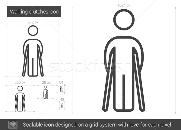 徒歩 松葉杖 行 アイコン ベクトル 孤立した ストックフォト © RAStudio