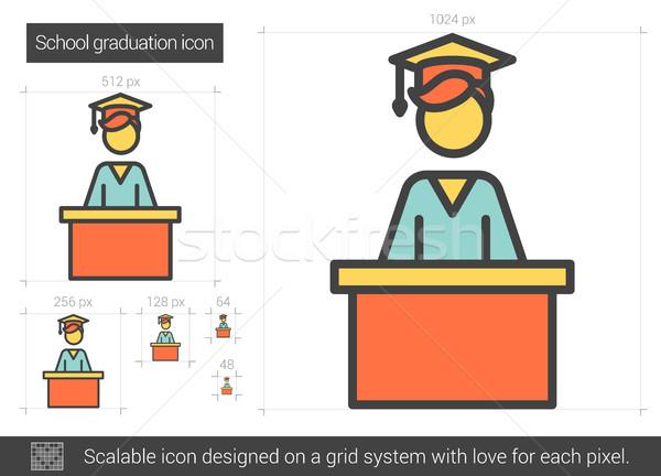 School graduation line icon. Stock photo © RAStudio