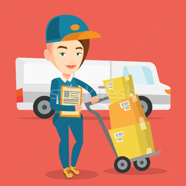 Delivery courier with cardboard boxes. Stock photo © RAStudio