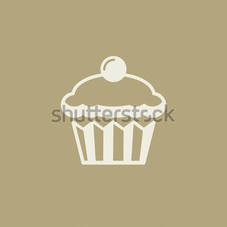 Muffin lijn icon vector geïsoleerd witte Stockfoto © RAStudio