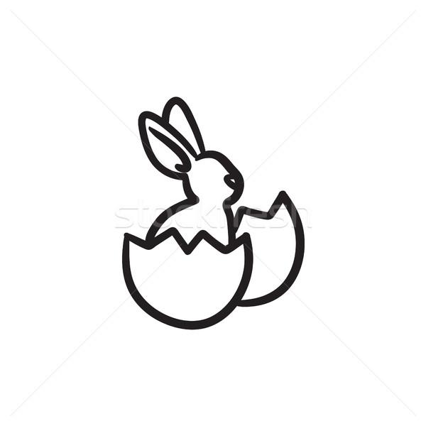 Easter bunny sitting in egg shell sketch icon. Stock photo © RAStudio
