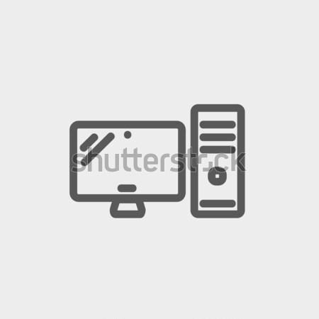Cpu monitor sketch icona vettore isolato Foto d'archivio © RAStudio