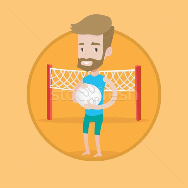 Plage volleyball joueur balle mains Photo stock © RAStudio