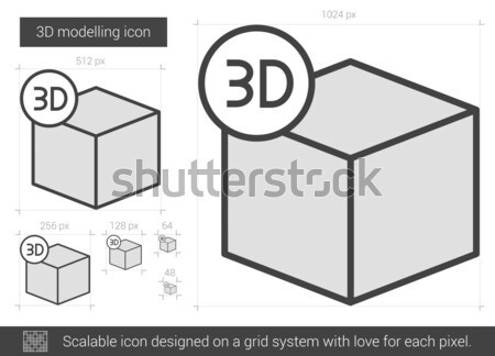 Drie lijn icon vector geïsoleerd witte Stockfoto © RAStudio