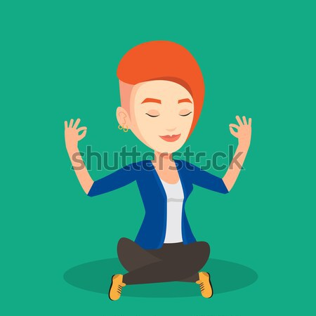 Businesswoman meditating in lotus position. Stock photo © RAStudio